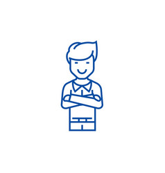 man with crossed arms line icon concept man with vector image