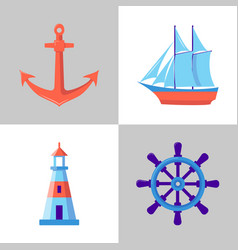 Marine collection of icons in flat style vector