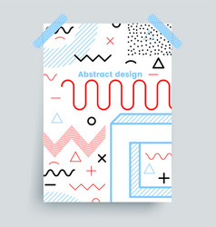 Memphis poster line art design on a white vector