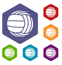 Modern volleyball icons hexahedron vector