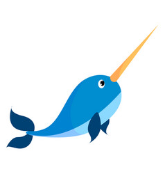 Narwhal on white background vector