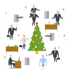 new years corporate party christmas in office vector image
