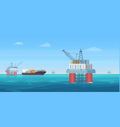 oil drill platform cartoon vector image