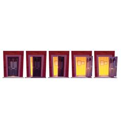 Opening wooden front door in brick wall vector