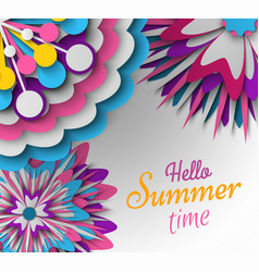 paper card with flower hello summer poster vector image