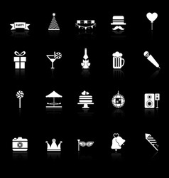 Party time icons with reflect on black background vector