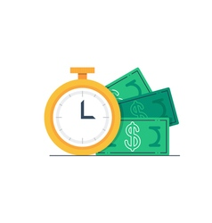 Payment day clock and money bills vector image