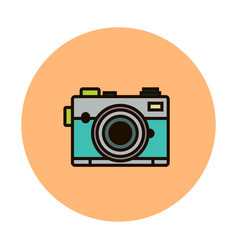 Photocamera line icon isolated on white vector