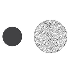 Polygonal mesh filled circle and flat icon vector