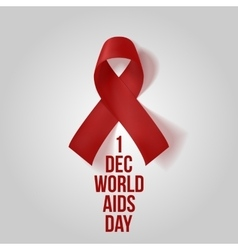 Realistic red Ribbon Awareness AIDS Symbol vector