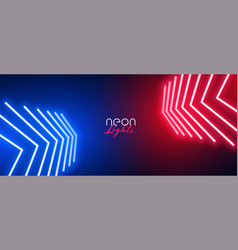 red and blue neon arrow wide wallpaper vector image