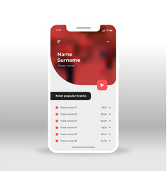 red music player application design vector image