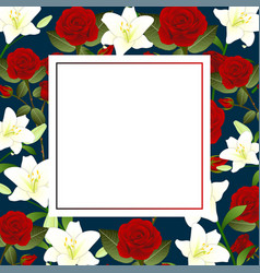 Red rose and white lily flower christmas banner vector