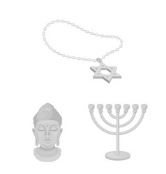 Religion and belief monochrome icons in set vector