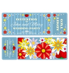 retro boarding pass ticket wedding invitation vector image