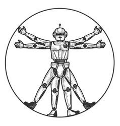 Robot vitruvian man sketch engraving vector