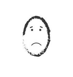 sad egg shaped face drawing isolated on white vector image
