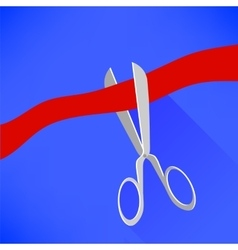 Scissors Cutting Red Ribbon vector image