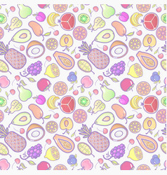 seamless background with various tropical fruits vector image