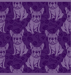 Seamless cute pattern with french bulldog home vector