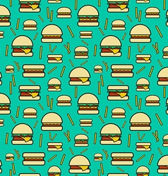 Seamless pattern of burgers and fries on turquoise vector image