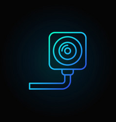 security surveillance camera outline blue vector image