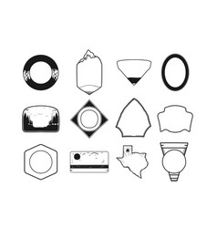 set black camping badge shapes included texas vector image