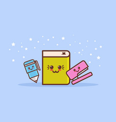 set cute stapler book and pen cartoon comic vector image
