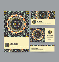set of cards with hand drawn mandala vector image