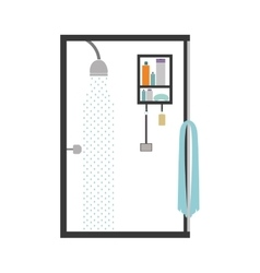 Silhouette color bathroom with the shower open vector