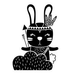 Silhouette ethnic rabbit animal in back of bushes vector