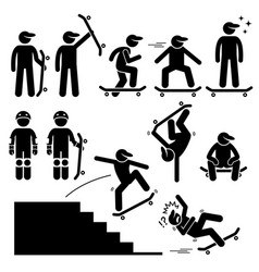 Skateboarder skating on skateboard stick figure vector