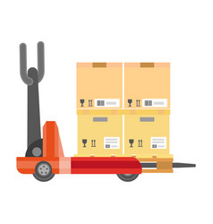 Special vehicle carrying cardboard boxes isolated vector