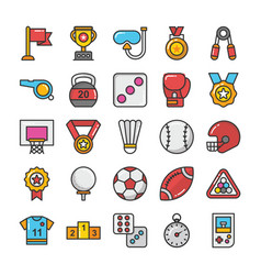 Sports and games flat icons set 2 vector