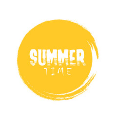 summer time letter in round grunge orange circle vector image