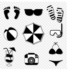 summer travel beach icon set isolated on vector image
