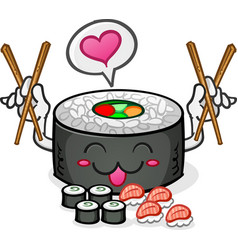 sushi character eating platter vector image
