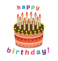 Sweet birthday cake with eleven burning candles vector
