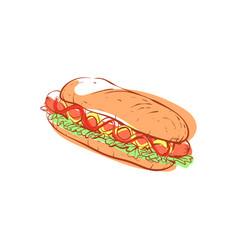 Tasty hot dog isolated icon vector