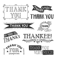 Thank you lettering set vector