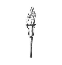 Torch modern metallic burning stick ink vector