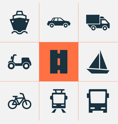 Transportation icons set collection of skooter vector