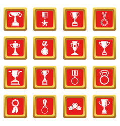 Trophy icons set red vector
