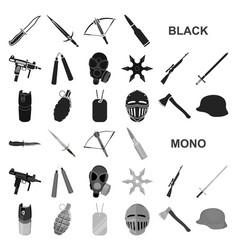 types weapons black icons in set collection vector image