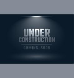 under construction coming soon spot light vector image