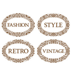 vintage oval frames set with different vector image