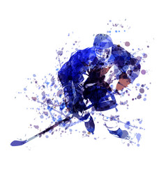 Watercolor of hockey player vector