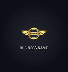 wing emblem star company gold logo vector image