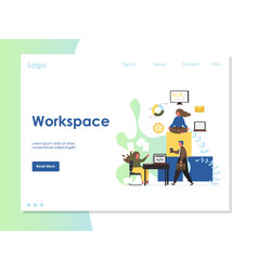 workspace website landing page design vector image