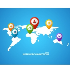 World Map with color geo location pin vector